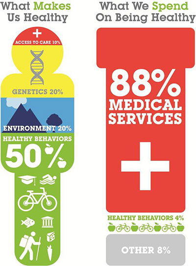 A graphic of what makes us healthy. Only 12 percent of this is medical care.